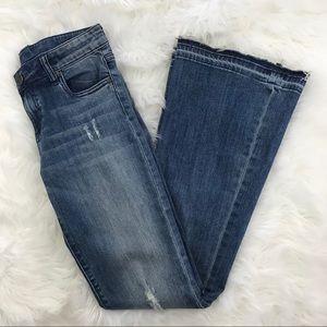 KFTK Elena Raw Hem Super Flare Jeans